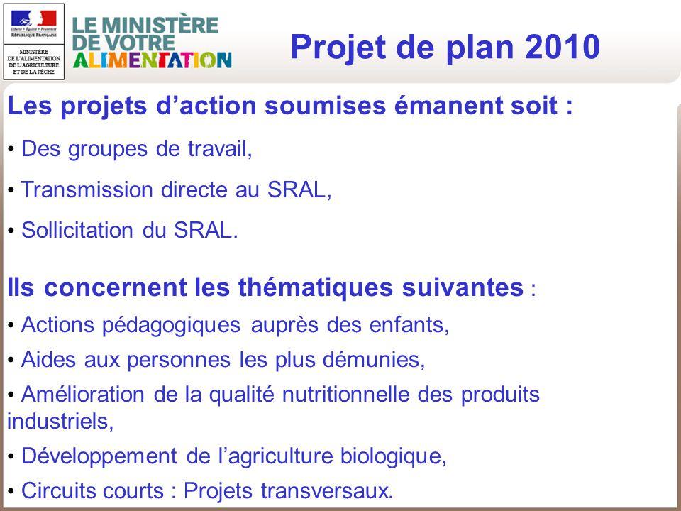 Projet de plan 2010 Ils concernent les thématiques suivantes : Actions pédagogiques auprès des enfants, Aides aux personnes les plus démunies, Amélior