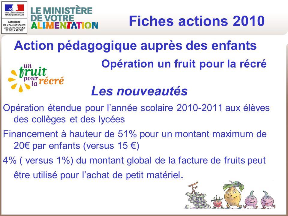 Fiches actions 2010 Les nouveautés Opération étendue pour lannée scolaire 2010-2011 aux élèves des collèges et des lycées Financement à hauteur de 51%