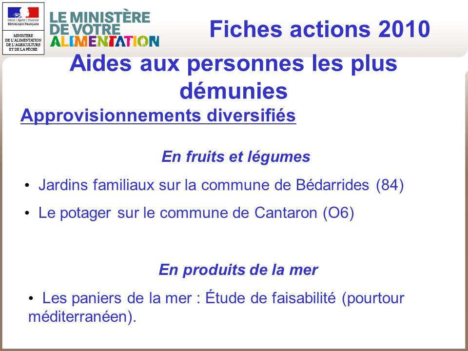 Aides aux personnes les plus démunies Fiches actions 2010 Approvisionnements diversifiés En fruits et légumes Jardins familiaux sur la commune de Béda