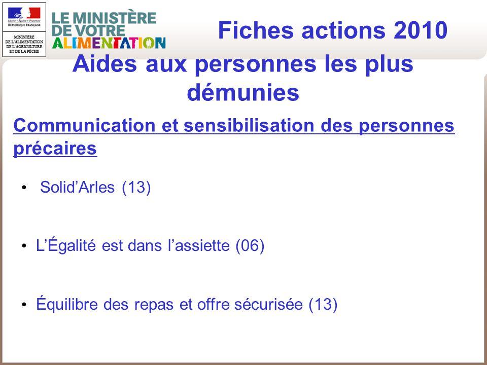 Aides aux personnes les plus démunies Fiches actions 2010 Communication et sensibilisation des personnes précaires SolidArles (13) LÉgalité est dans l