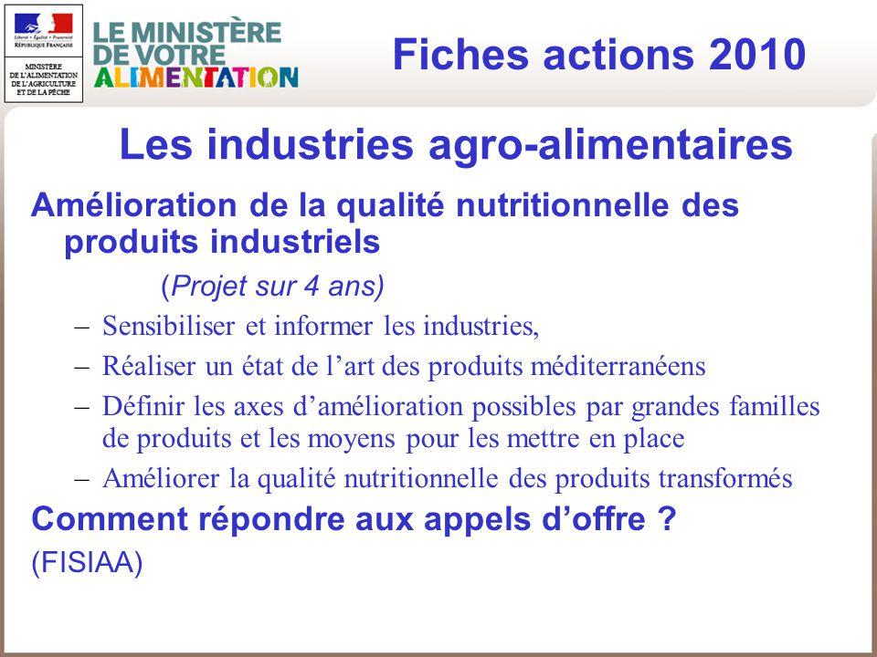 Les industries agro-alimentaires Amélioration de la qualité nutritionnelle des produits industriels (Projet sur 4 ans) –Sensibiliser et informer les i