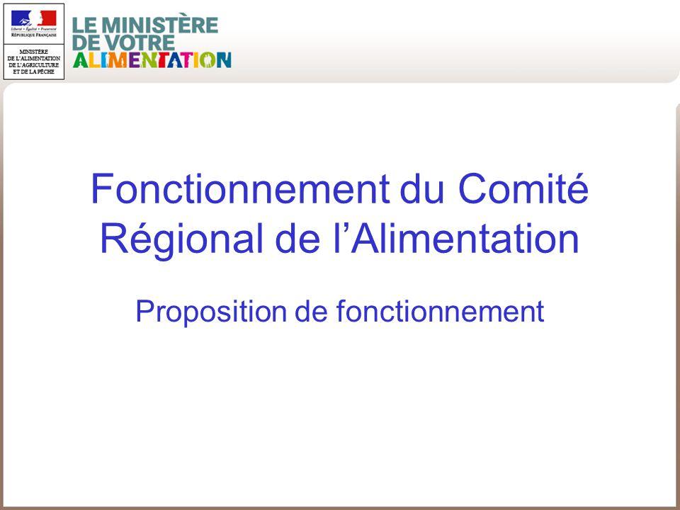 Fonctionnement du Comité Régional de lAlimentation Proposition de fonctionnement