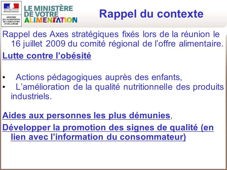 Rappel des Axes stratégiques fixés lors de la réunion le 16 juillet 2009 du comité régional de loffre alimentaire. Lutte contre lobésité Actions pédag