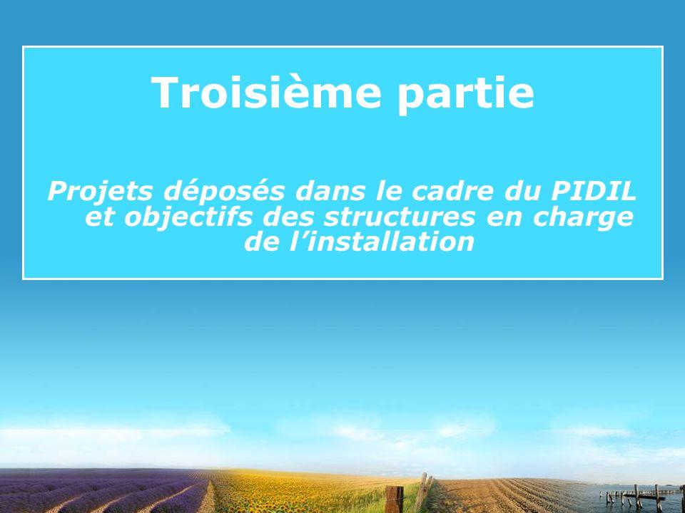 9 Dispositifs daccompagnement à linstallation et réponses à lappel à projet PIDIL Installation / Évolution réglementaires et Utilisation des terres Troisième partie Projets déposés dans le cadre du PIDIL et objectifs des structures en charge de linstallation