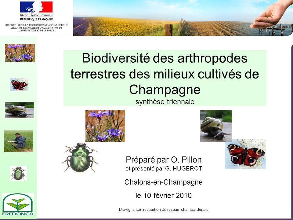 Biovigilance- restitution du réseau champardenais Biodiversité des arthropodes terrestres des milieux cultivés de Champagne synthèse triennale Chalons