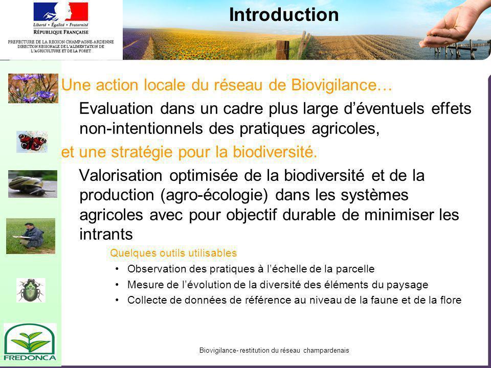 Biovigilance- restitution du réseau champardenais Introduction Une action locale du réseau de Biovigilance… Evaluation dans un cadre plus large dévent