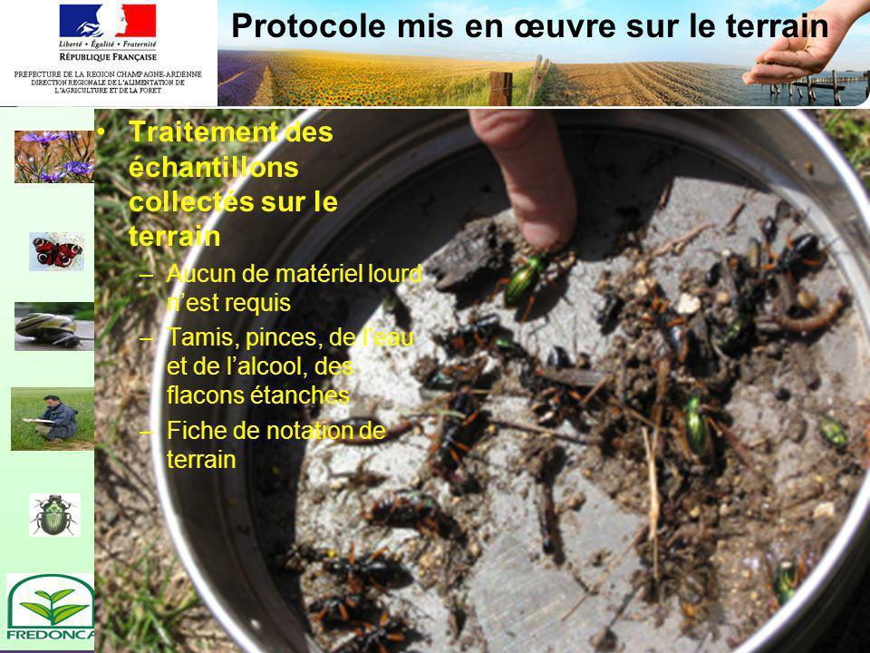 Biovigilance- restitution du réseau champardenais Protocole mis en œuvre sur le terrain Traitement des échantillons collectés sur le terrain –Aucun de