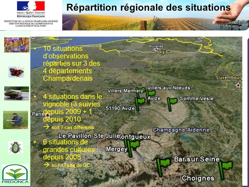 Biovigilance- restitution du réseau champardenais Répartition régionale des situations 10 situations dobservations réparties sur 3 des 4 départements
