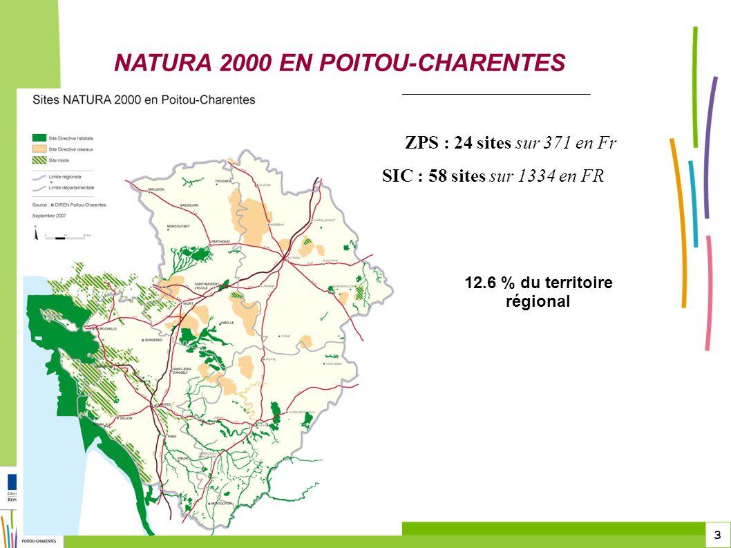 3 DREAL Poitou-Charentes NATURA 2000 EN POITOU-CHARENTES ZPS : 24 sites sur 371 en Fr SIC : 58 sites sur 1334 en FR 12.6 % du territoire régional