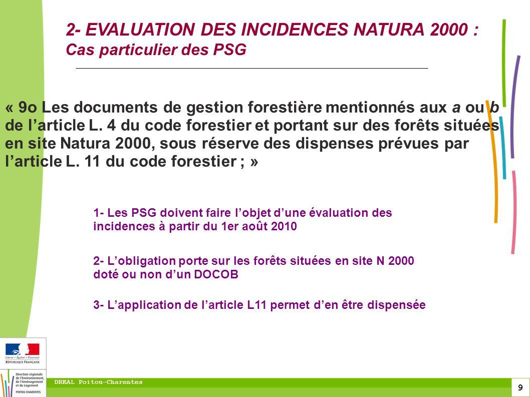10 DREAL Poitou-Charentes 2- EVALUATION DES INCIDENCES NATURA 2000 : Cas particulier des PSG Demande dagrément du PSG Hors alinéa 1 ou 2.
