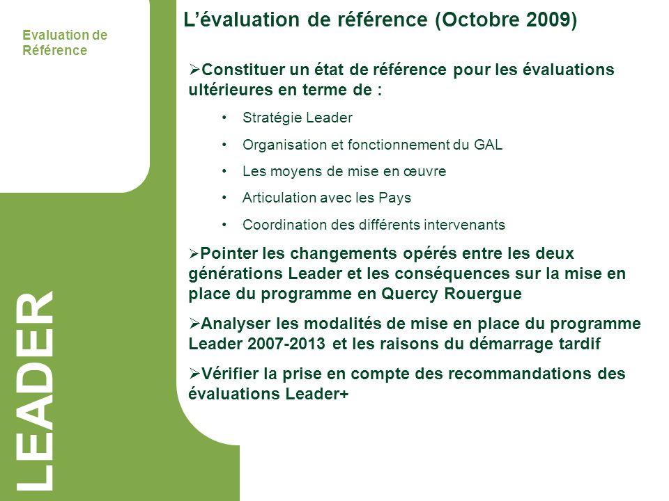 LEADER Lévaluation de référence (Octobre 2009) Evaluation de Référence Constituer un état de référence pour les évaluations ultérieures en terme de :