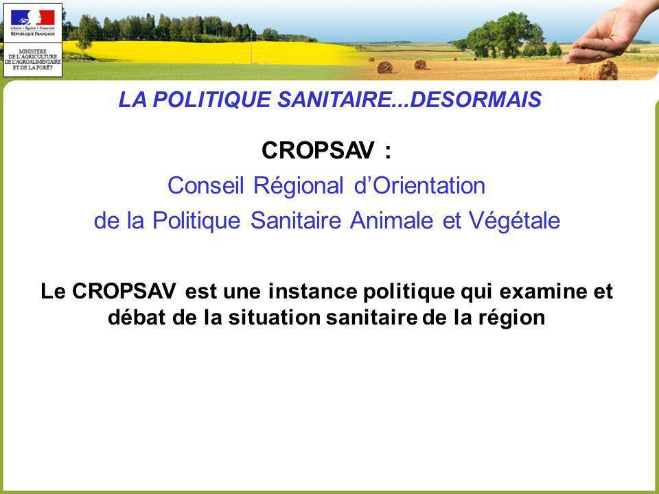 CROPSAV : Conseil Régional dOrientation de la Politique Sanitaire Animale et Végétale Le CROPSAV est une instance politique qui examine et débat de la situation sanitaire de la région LA POLITIQUE SANITAIRE...DESORMAIS