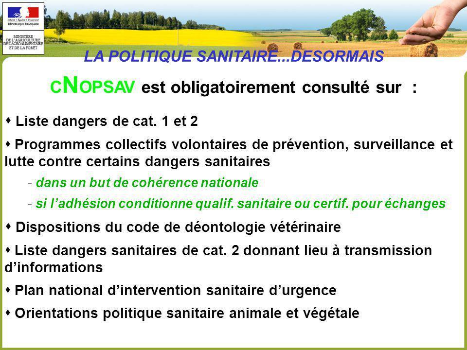 C N OPSAV est obligatoirement consulté sur : Liste dangers de cat.