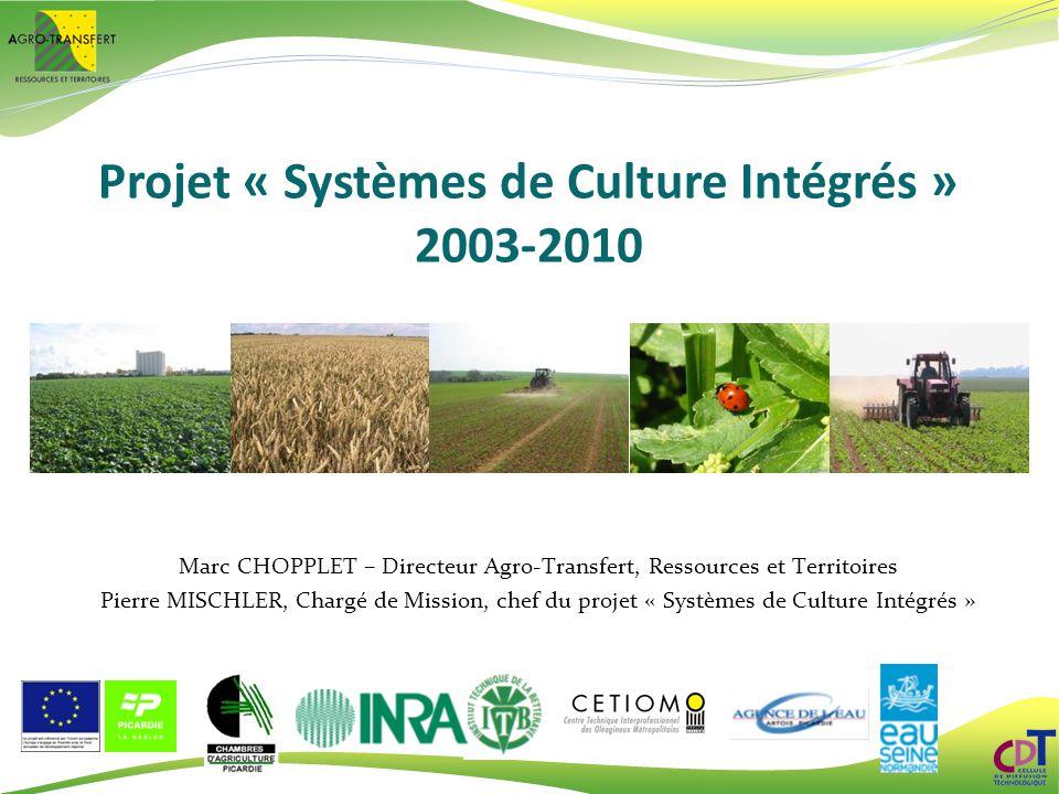 Projet « Systèmes de Culture Intégrés » 2003-2010 Marc CHOPPLET – Directeur Agro-Transfert, Ressources et Territoires Pierre MISCHLER, Chargé de Missi