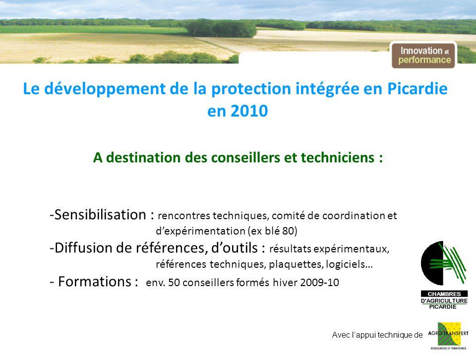 Le développement de la protection intégrée en Picardie en 2010 A destination des conseillers et techniciens : -Sensibilisation : rencontres techniques