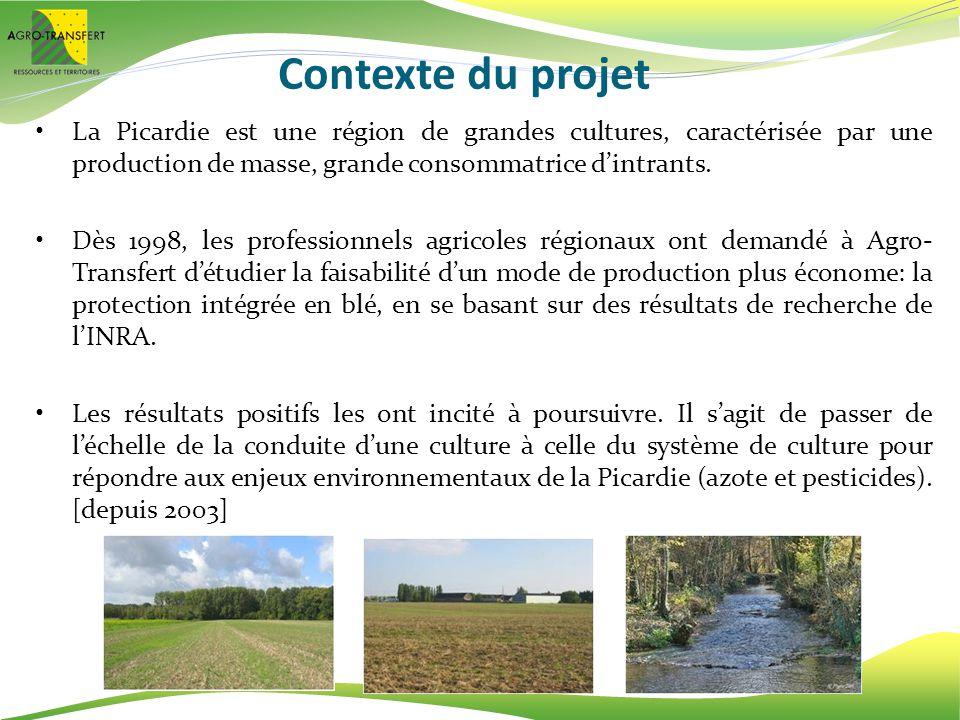 Contexte du projet La Picardie est une région de grandes cultures, caractérisée par une production de masse, grande consommatrice dintrants. Dès 1998,