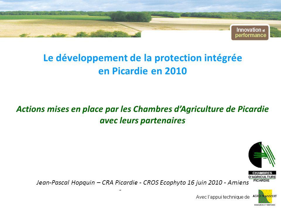 Le développement de la protection intégrée en Picardie en 2010 A destination des agriculteurs : -Réseau 1000 parcelles en Protection Intégrée (FEAGA - PRN Sucre) - env.