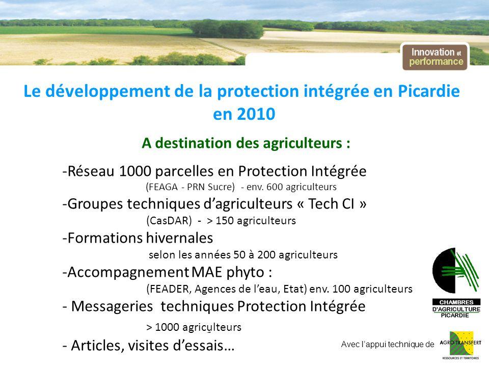 Le développement de la protection intégrée en Picardie en 2010 A destination des agriculteurs : -Réseau 1000 parcelles en Protection Intégrée (FEAGA -