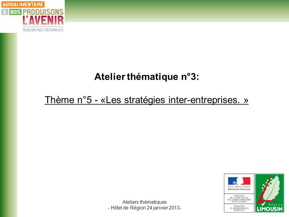 Ateliers thématiques - Hôtel de Région 24 janvier 2013- Atelier thématique n°3: Thème n°5 - «Les stratégies inter-entreprises.