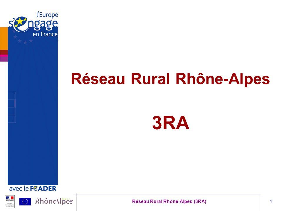 Réseau Rural Rhône-Alpes (3RA)2 Règlement de développement rural 2007-2013 CE n°1698/2005 regroupe lensemble des organismes impliqués dans le développement rural Cadrage communautaire Échanges de pratiques et de réflexions Réseau Rural Européen Réseau rural français Réseau Rural Bourgogn e Réseau Rural Aquitaine Autres Réseaux Ruraux Régionaux Réseau Rural Italien Autres Réseaux Ruraux Etat- membres 3RA : acteurs rhônalpins du monde rural Réseau Rural Belge