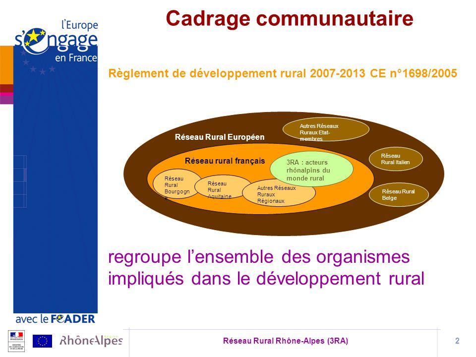Réseau Rural Rhône-Alpes (3RA)2 Règlement de développement rural 2007-2013 CE n°1698/2005 regroupe lensemble des organismes impliqués dans le développ