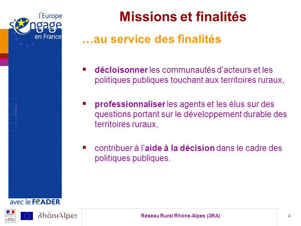 Réseau Rural Rhône-Alpes (3RA)4 …au service des finalités décloisonner les communautés dacteurs et les politiques publiques touchant aux territoires r
