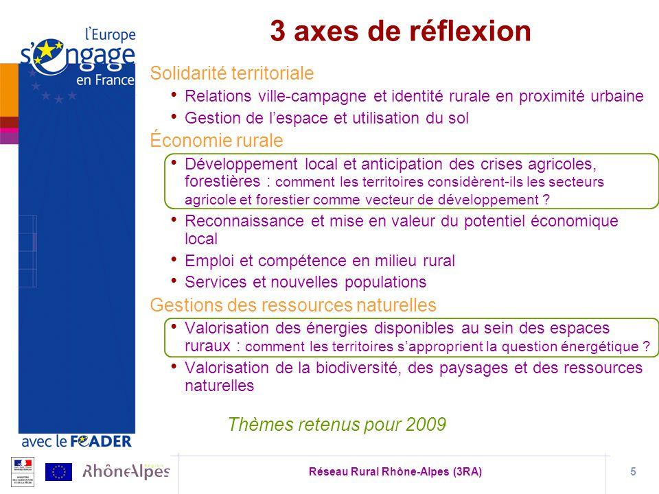 Réseau Rural Rhône-Alpes (3RA)5 Solidarité territoriale Relations ville-campagne et identité rurale en proximité urbaine Gestion de lespace et utilisation du sol Économie rurale Développement local et anticipation des crises agricoles, forestières : comment les territoires considèrent-ils les secteurs agricole et forestier comme vecteur de développement .