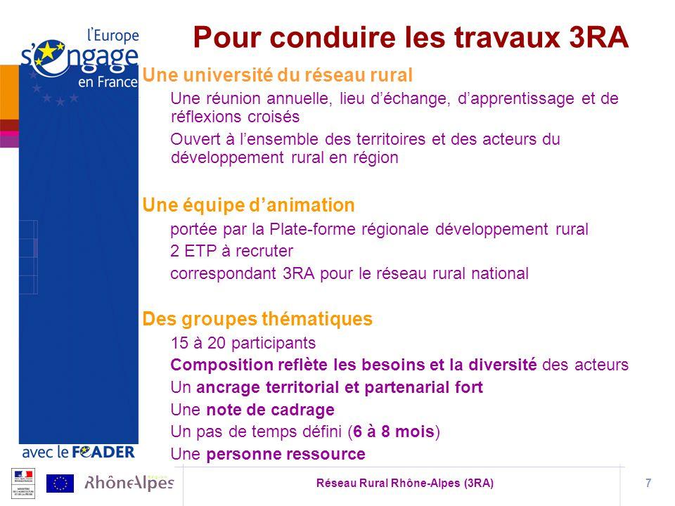 Réseau Rural Rhône-Alpes (3RA)7 Une université du réseau rural Une réunion annuelle, lieu déchange, dapprentissage et de réflexions croisés Ouvert à l