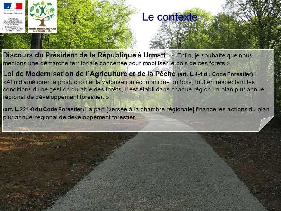Le contexte Discours du Président de la République à Urmatt : « Enfin, je souhaite que nous menions une démarche territoriale concertée pour mobiliser le bois de ces forêts » Loi de Modernisation de lAgriculture et de la Pêche (art.