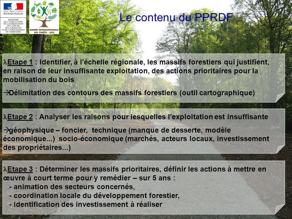 Le contenu du PPRDF Etape 1 : Identifier, à l échelle régionale, les massifs forestiers qui justifient, en raison de leur insuffisante exploitation, des actions prioritaires pour la mobilisation du bois Délimitation des contours des massifs forestiers (outil cartographique) Etape 2 : Analyser les raisons pour lesquelles l exploitation est insuffisante géophysique – foncier, technique (manque de desserte, modèle économique...) socio-économique (marchés, acteurs locaux, investissement des propriétaires...) Etape 3 : Déterminer les massifs prioritaires, définir les actions à mettre en œuvre à court terme pour y remédier – sur 5 ans : - animation des secteurs concernés, - coordination locale du développement forestier, - identification des investissement à réaliser