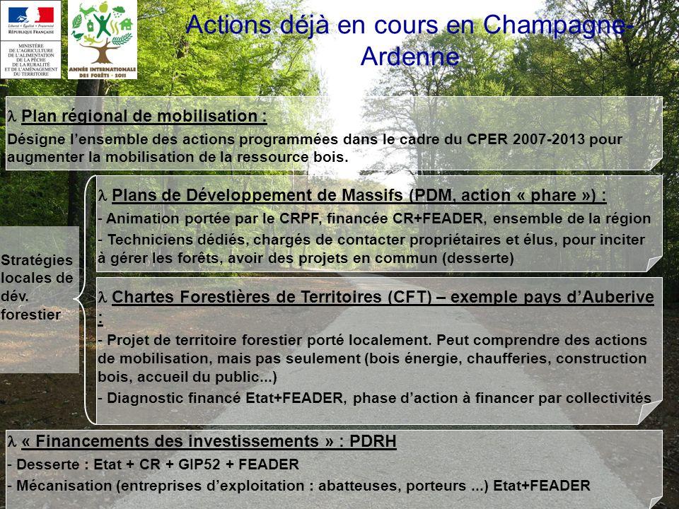 Actions déjà en cours en Champagne- Ardenne Plan régional de mobilisation : Désigne lensemble des actions programmées dans le cadre du CPER 2007-2013 pour augmenter la mobilisation de la ressource bois.