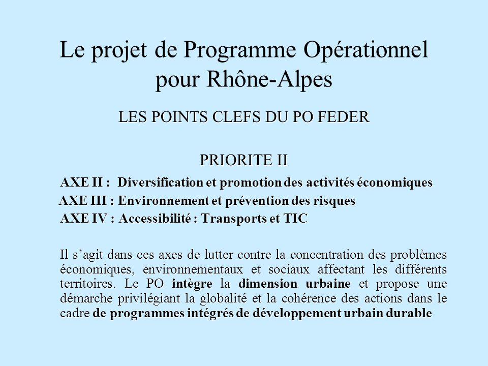 Le projet de Programme Opérationnel pour Rhône-Alpes LES POINTS CLEFS DU PO FEDER PRIORITE II AXE II : Diversification et promotion des activités écon