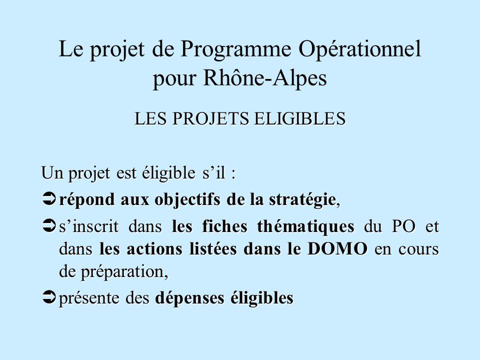 Le projet de Programme Opérationnel pour Rhône-Alpes LES PROJETS ELIGIBLES Un projet est éligible sil : répond aux objectifs de la stratégie, répond a