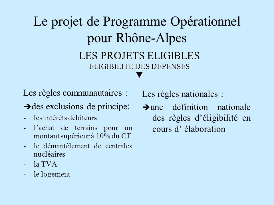 Le projet de Programme Opérationnel pour Rhône-Alpes Les règles communautaires : des exclusions de principe : - les intérêts débiteurs -lachat de terr