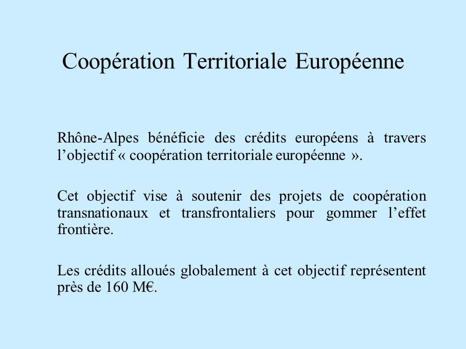 Coopération Territoriale Européenne Rhône-Alpes bénéficie des crédits européens à travers lobjectif « coopération territoriale européenne ». Cet objec