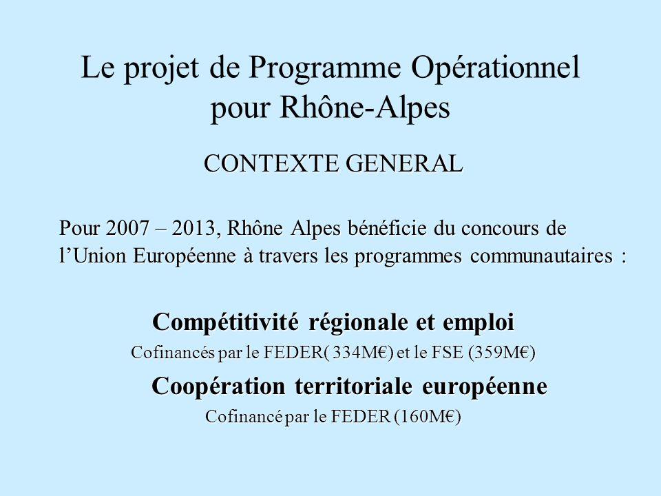 Le projet de Programme Opérationnel pour Rhône-Alpes CONTEXTE GENERAL Ces programmes sont recentrés autour des cinq priorités définies aux sommets européens de Lisbonne et Göteborg: - linnovation ; - la croissance ; - la compétitivité ; - lemploi ; - lenvironnement dont le principal enjeu est de dynamiser la compétitivité européenne en assurant la cohésion sociale et le développement durable