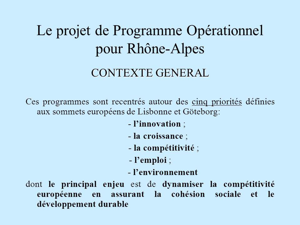 Le projet de Programme Opérationnel pour Rhône-Alpes CONTEXTE GENERAL La concentration thématique voulue par la Commission européenne est dautant plus importante que : la notion de zonage a été abandonnée lUE impose de consacrer 75% des dépenses co-financées par les fonds structurels aux priorités de Lisbonne, selon une liste dactions (Earmarking)