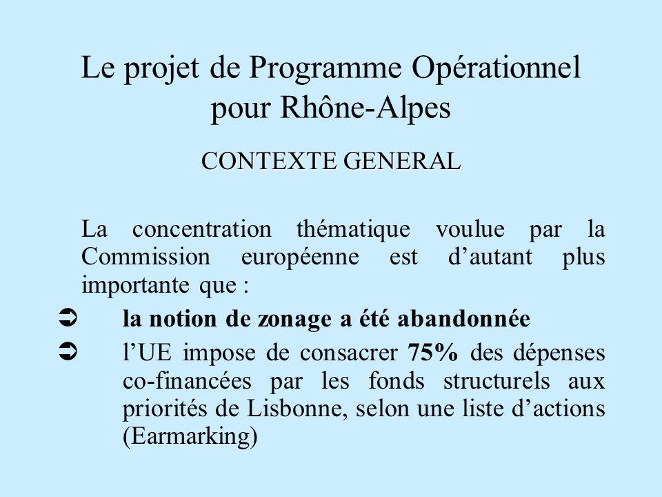 Le projet de Programme Opérationnel pour Rhône-Alpes CONTEXTE GENERAL La concentration thématique voulue par la Commission européenne est dautant plus