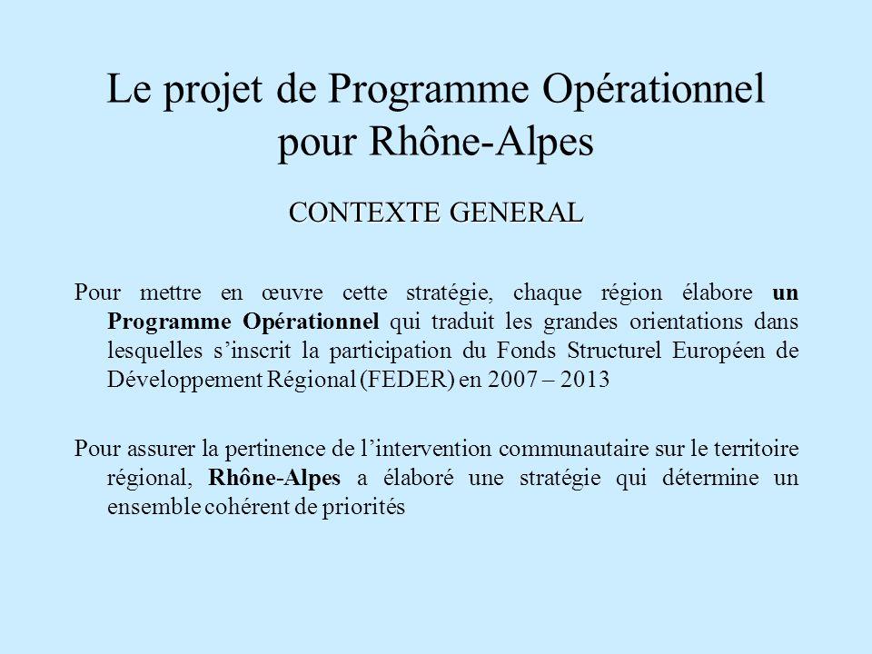 Le projet de Programme Opérationnel pour Rhône-Alpes CONTEXTE GENERAL Pour mettre en œuvre cette stratégie, chaque région élabore un Programme Opérati