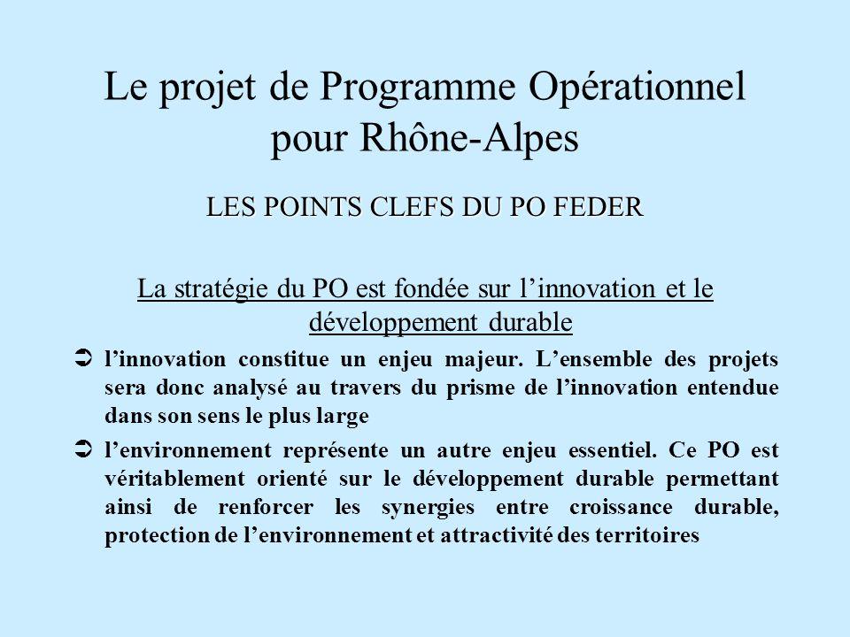 Le projet de Programme Opérationnel pour Rhône-Alpes LES POINTS CLEFS DU PO FEDER Linnovation et la recherche constitueront les leviers de la croissance économique en Rhône-Alpes, en même temps que le développement durable assurera la cohésion et lattractivité des territoires 3 priorités ont donc été identifiées :