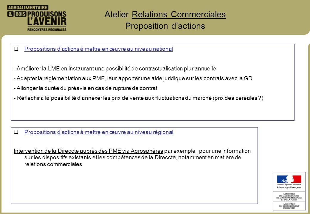 Atelier Relations Commerciales Proposition dactions Propositions dactions à mettre en œuvre au niveau régional Intervention de la Direccte auprès des