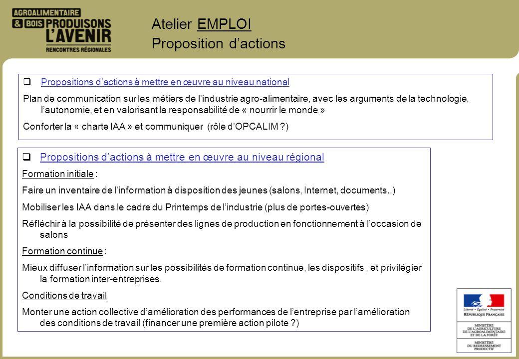 Atelier EMPLOI Proposition dactions Propositions dactions à mettre en œuvre au niveau régional Formation initiale : Faire un inventaire de linformatio