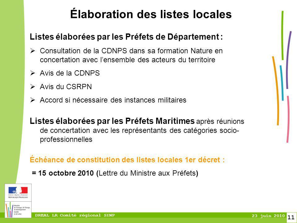 DREAL LR Comité régional SINP 23 juin 2010 11 Élaboration des listes locales Listes élaborées par les Préfets de Département : Consultation de la CDNP