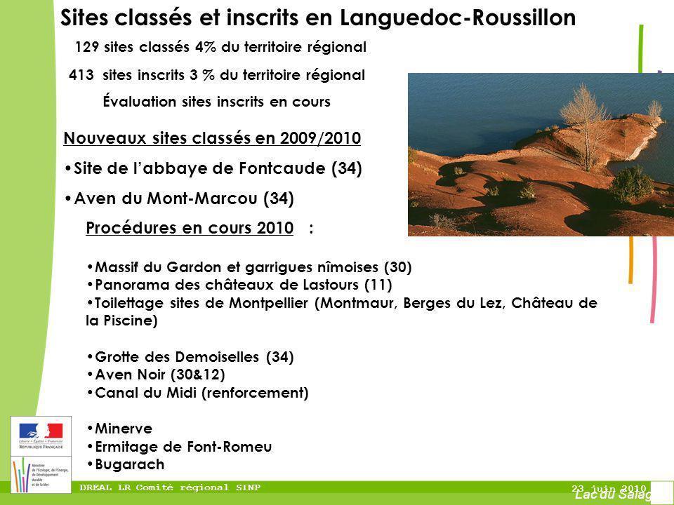 DREAL LR Comité régional SINP 23 juin 2010 Nouveaux sites classés en 2009/2010 Site de labbaye de Fontcaude (34) Aven du Mont-Marcou (34) Sites classé