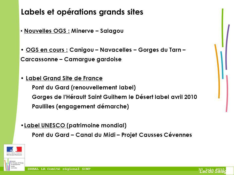 DREAL LR Comité régional SINP 23 juin 2010 Labels et opérations grands sites Lac du Salagou Nouvelles OGS : Minerve – Salagou OGS en cours : Canigou –