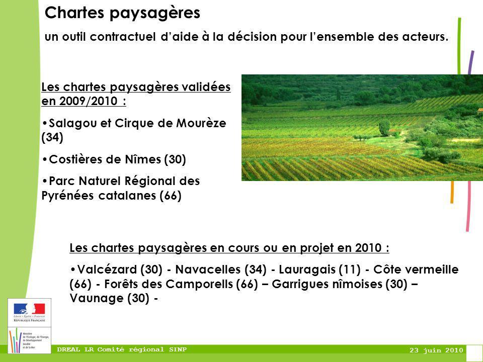 DREAL LR Comité régional SINP 23 juin 2010 Chartes paysagères un outil contractuel daide à la décision pour lensemble des acteurs. Les chartes paysagè