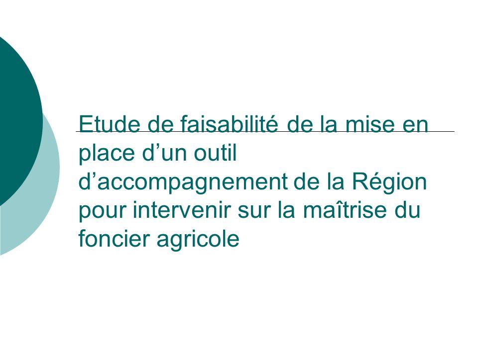 Etude de faisabilité de la mise en place dun outil daccompagnement de la Région pour intervenir sur la maîtrise du foncier agricole