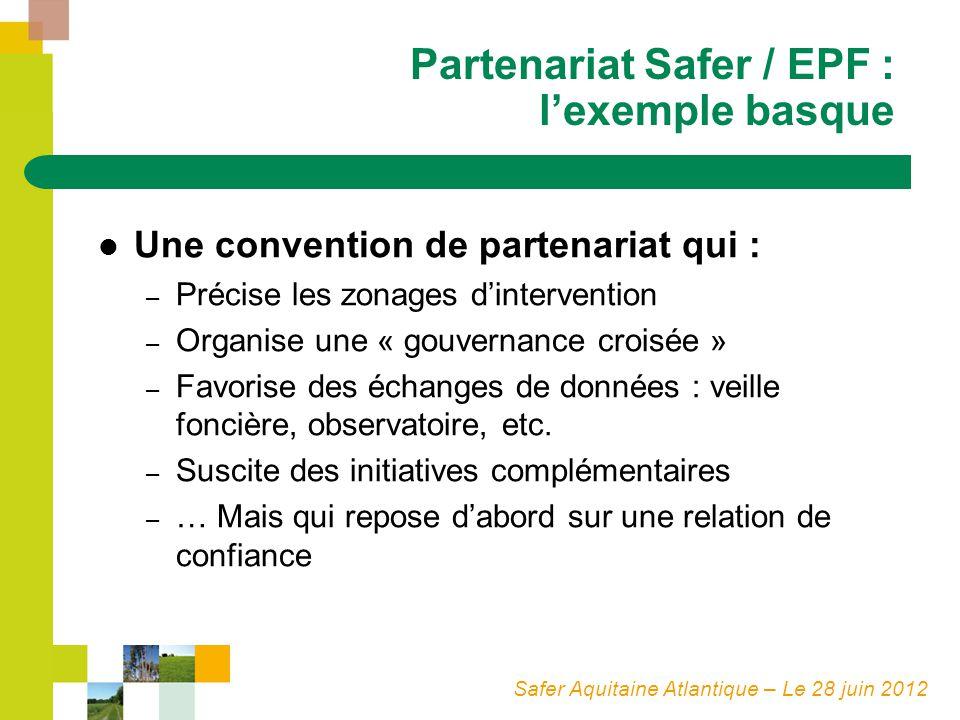 Safer Aquitaine Atlantique – Le 28 juin 2012 Partenariat Safer / EPF : lexemple basque Une convention de partenariat qui : – Précise les zonages dinte