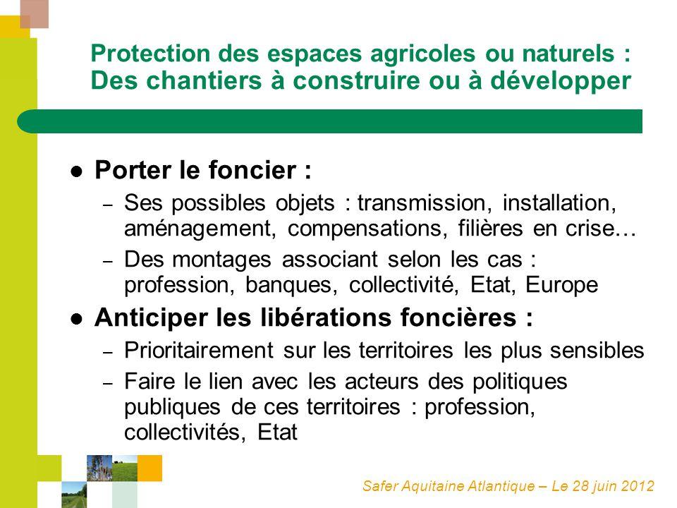 Safer Aquitaine Atlantique – Le 28 juin 2012 Protection des espaces agricoles ou naturels : Des chantiers à construire ou à développer Porter le fonci