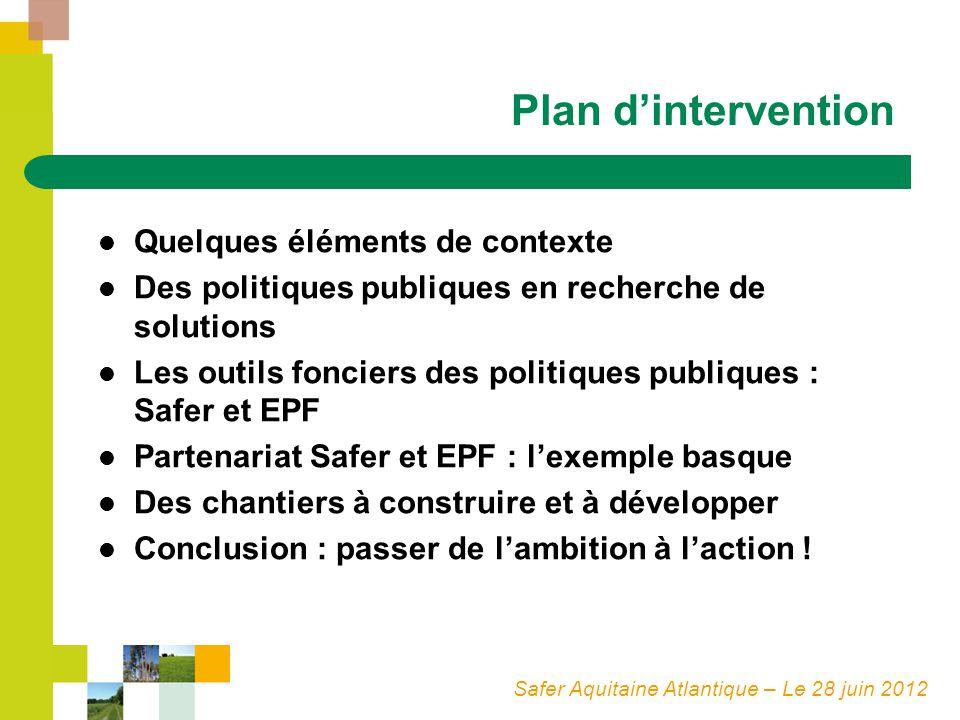 Safer Aquitaine Atlantique – Le 28 juin 2012 Plan dintervention Quelques éléments de contexte Des politiques publiques en recherche de solutions Les o